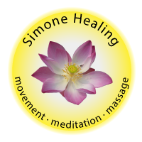Simone Healing Logo showing Lotus Flower with byline of movement meditation massage